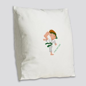 PERSONALIZED KARATE BOY Burlap Throw Pillow