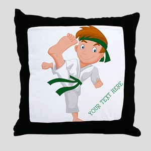 PERSONALIZED KARATE BOY Throw Pillow