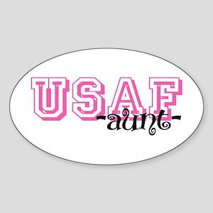USAF Aunt - Jersey Style Oval Sticker