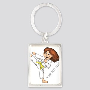 PERSONALIZED KARATE GIRL Keychains