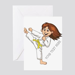 PERSONALIZED KARATE GIRL Greeting Cards