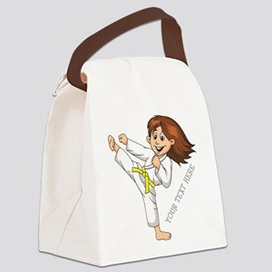 PERSONALIZED KARATE GIRL Canvas Lunch Bag