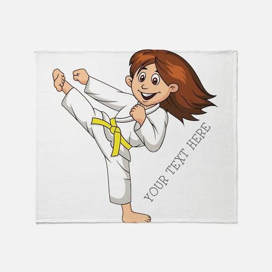 PERSONALIZED KARATE GIRL Throw Blanket