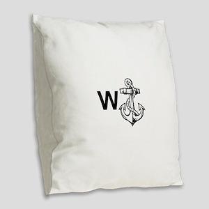 W Anchor *Wanker* Burlap Throw Pillow