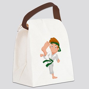 KARATE BOY GRN Canvas Lunch Bag