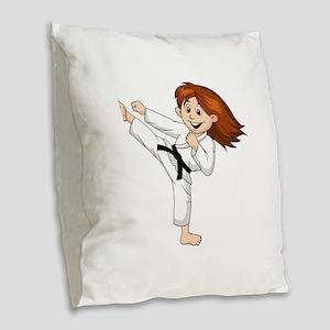 KARATE GIRL BLK Burlap Throw Pillow