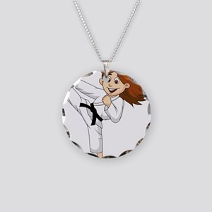 KARATE GIRL BLK Necklace Circle Charm