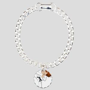 KARATE GIRL BLK Charm Bracelet, One Charm
