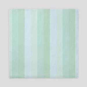 Calm Blue Green Stripe Queen Duvet