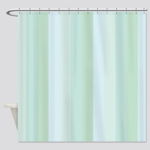 Calm Blue Green Stripe Shower Curtain