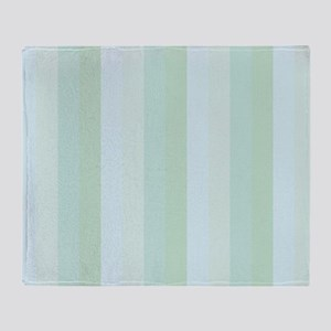 Calm Blue Green Stripe Throw Blanket