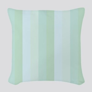Calm Blue Green Stripe Woven Throw Pillow