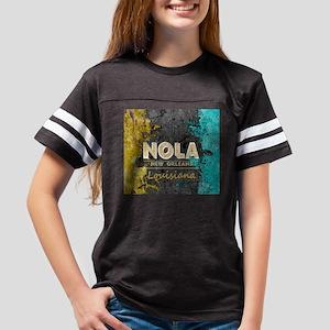 NOLA New Orleans Black Gold Turquoise Grun T-Shirt