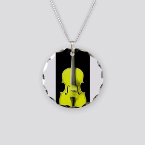 YellowViolin Necklace Circle Charm