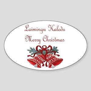 Lithuanian Christmas Oval Sticker
