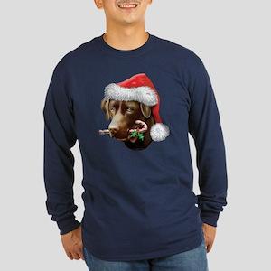 Chocolate Lab Christmas Long Sleeve Dark T-Shirt