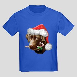 Chocolate Lab Christmas Kids Dark T-Shirt