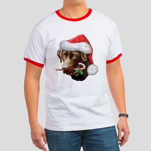 Chocolate Lab Christmas Ringer T