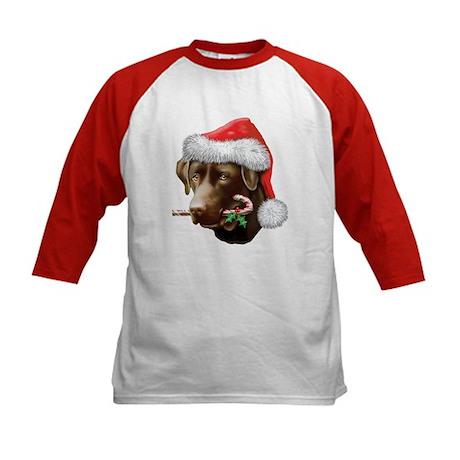 Chocolate Lab Christmas Kids Baseball Jersey