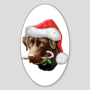 Chocolate Lab Christmas Oval Sticker