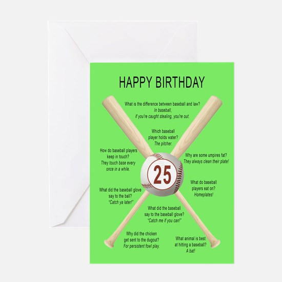25th birthday, awful baseball jokes Greeting Cards