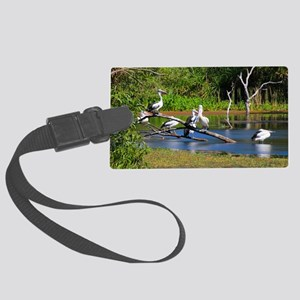 Pelicans in wetlands, Outback Au Large Luggage Tag