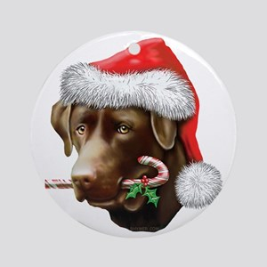 Chocolate Lab Christmas Ornament (Round)