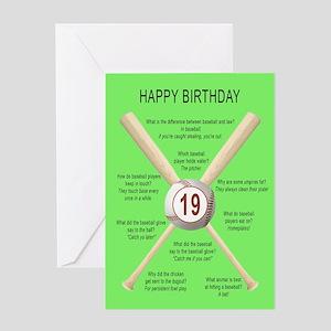19th birthday, awful baseball jokes Greeting Cards