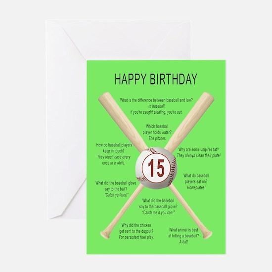 15th birthday, awful baseball jokes Greeting Cards