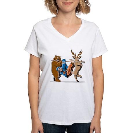 Anti-Hunting Wild Animal Re Women's V-Neck T-Shirt