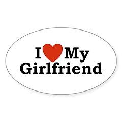 I Love My Girlfriend Oval Decal