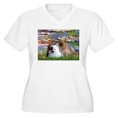 Lilies / 2 Pomeranians T-Shirt