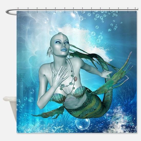 Underwater, wonderful mermaid Shower Curtain