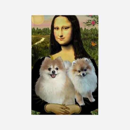 Mona/2 Pomeranians Rectangle Magnet