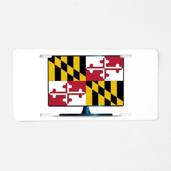 Maryland Flag TV Aluminum License Plate