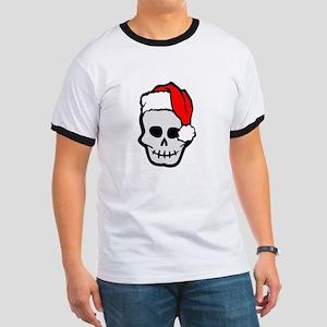Christmas Santa Skull Ringer T