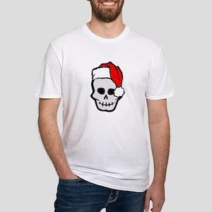 Christmas Santa Skull Fitted T-Shirt