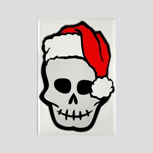 Christmas Santa Skull Rectangle Magnet