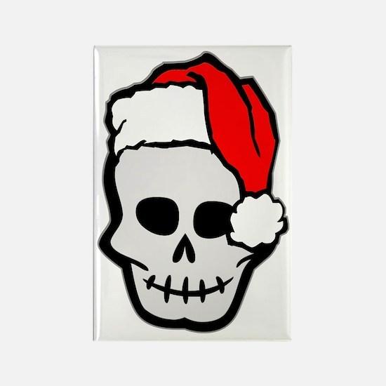 Christmas Santa Skull Rectangle Magnet