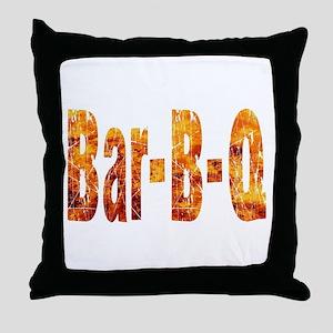 Bar BQ Text In Flames Throw Pillow