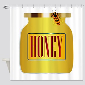 Honey Pot And Bee Shower Curtain