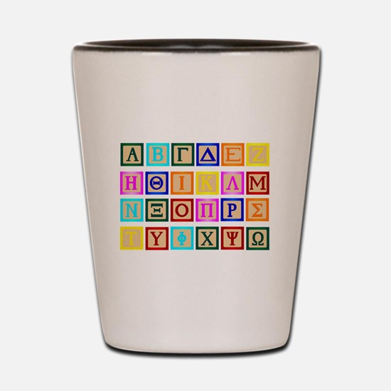 Block Letter In Greek Shot Glass