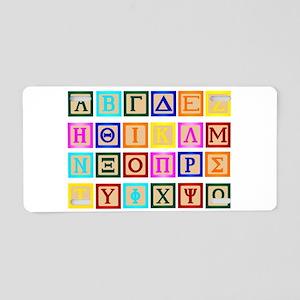 Block Letter In Greek Aluminum License Plate