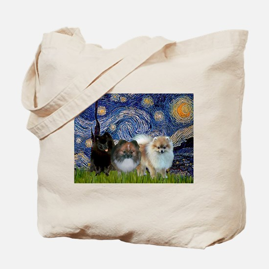 Starry/3 Pomeranians Tote Bag