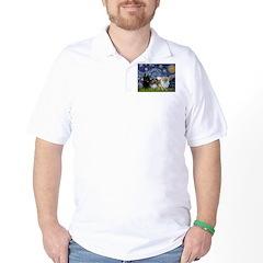 Starry/3 Pomeranians Golf Shirt