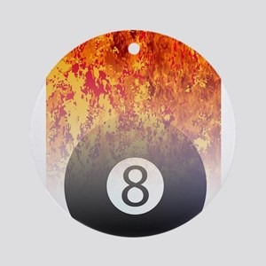 Roaring Flaming 8 Ball Round Ornament