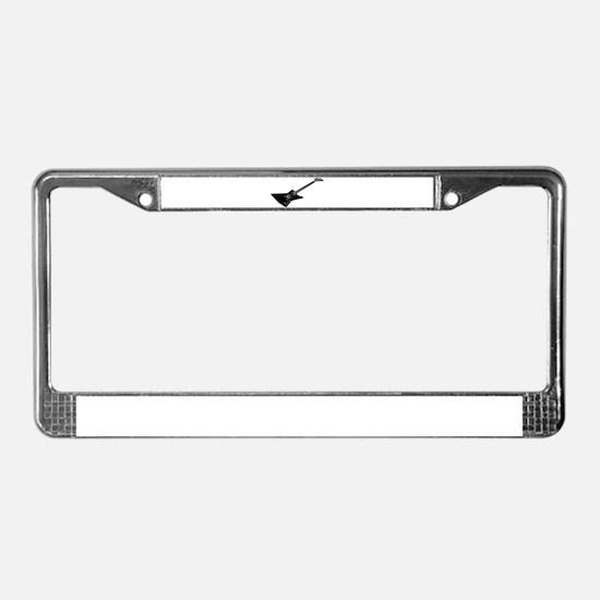 Black And White Guitar License Plate Frame