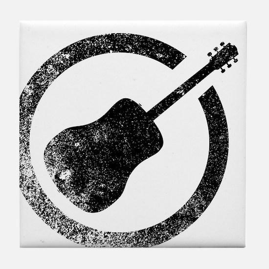 Acoustic Guitar Ink Stamp Tile Coaster