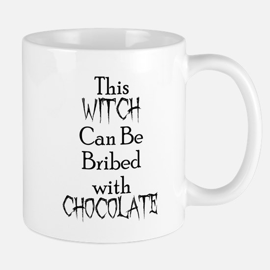 THIS WITCH CAN BE BRIBED WITH CHOCOLATE (HALL Mugs