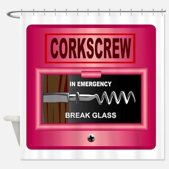 Emergency Corkscrew Shower Curtain